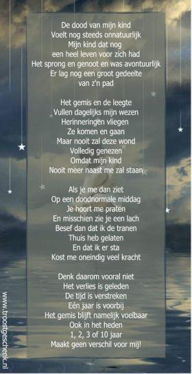 De dood van mijn kind Gedicht Karin Troostgeschenk / Lichtgidsen