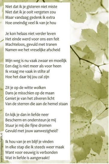 Niet dat ik je gisteren niet miste Gedicht Karin Troostgeschenk Lichtgidsen